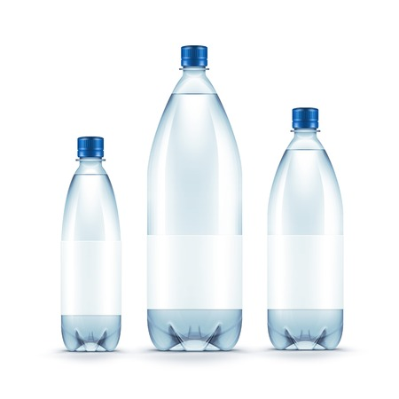 bottle with water: Vector Blank Plastic Blue Water Bottle Isolated