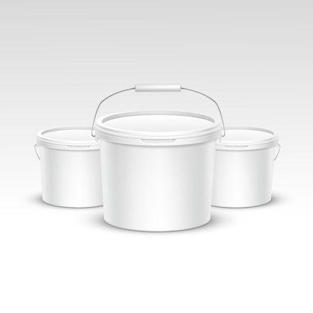 paint container: Vector Set of Plastic Bucket Container Packaging