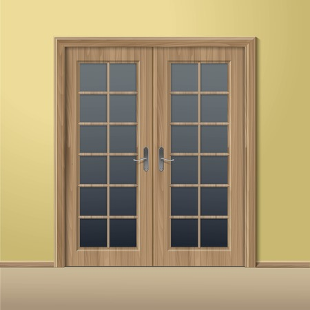 closed door: Vector Wood Closed Door with Frame Isolated