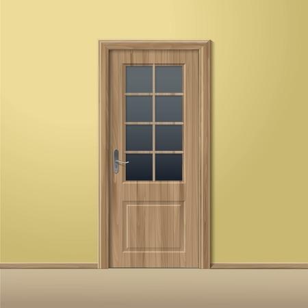doorhandle: Vector Wood Closed Door with Frame Isolated