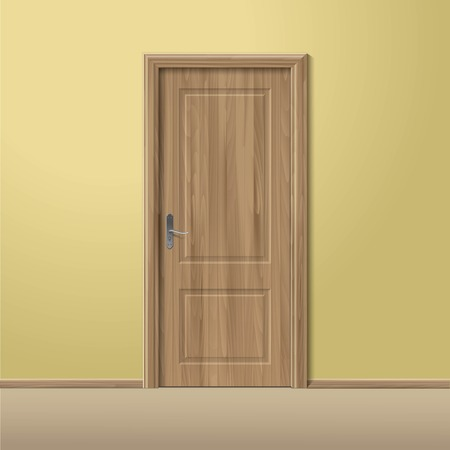 Vector Wood Closed Door with Frame Isolated
