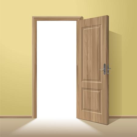portones de madera: Vector de madera de la puerta abierta con marco aislado