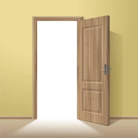 glass door: Vector Wood Open Door with Frame Isolated