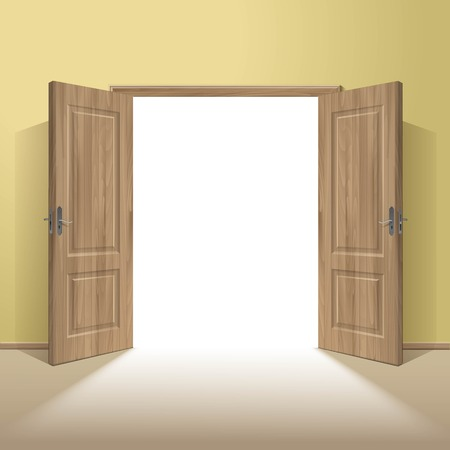 room door: Vector Wood Open Door with Frame Isolated