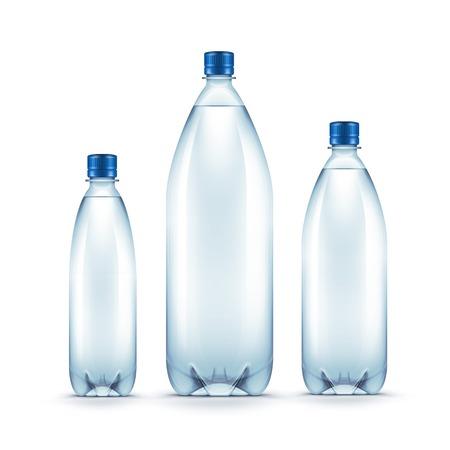 botellas vacias: Vector blanco botella de plástico de agua azul aislado