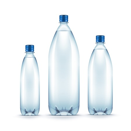 recycling bottles: Vector Blank Plastic Blue Water Bottle Isolated