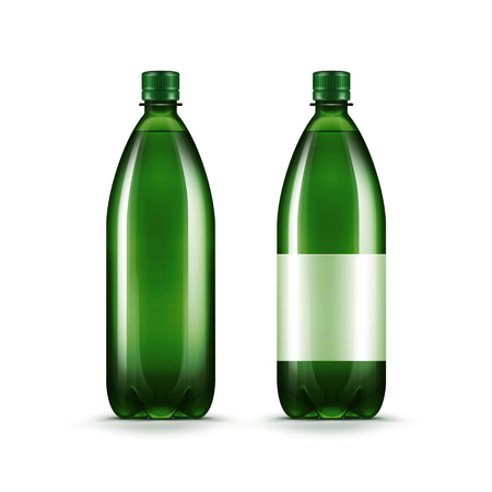 envases de plástico: Vector blanco verde botella de agua de plástico aislada Vectores