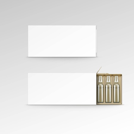 ampoules: Vector Blank Packaging Box for Ampoules Isolated