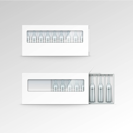 vial: Vector Blank Packaging Box for Ampoules Isolated