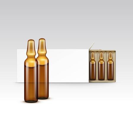 分離されたアンプル ベクトル空の包装箱  イラスト・ベクター素材