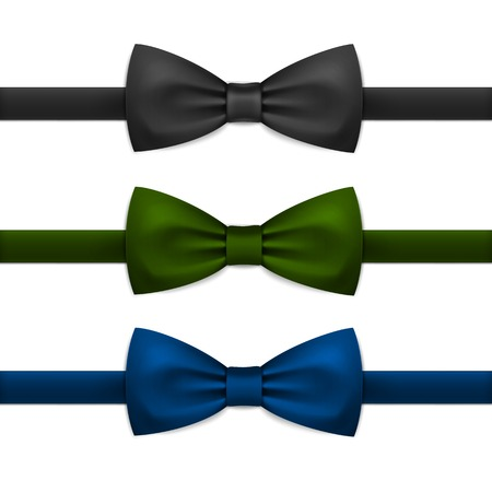 Vector Bow Tie Bowtie Set Isolated on White Illustration