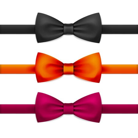 Vector Bow Tie Bowtie Set Isolated on White Çizim