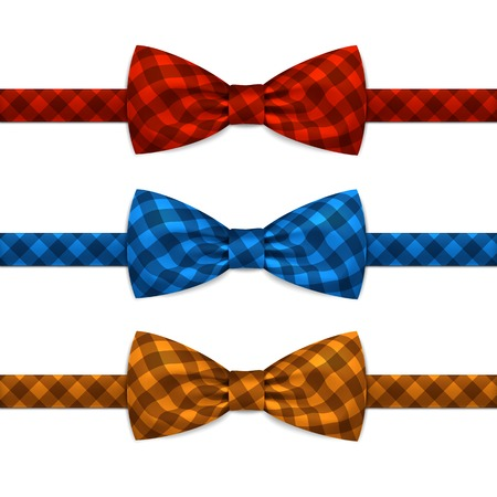 red ribbon bow: Vector Bow Tie Bowtie Set Isolated on White Illustration