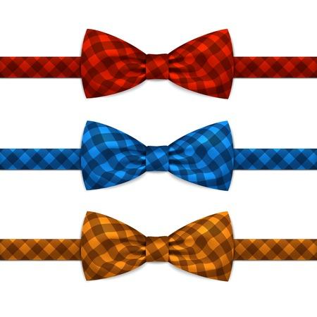 corbata negra: Vector de la pajarita de Bowtie Set aislado en blanco