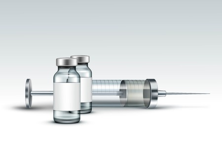 ampule: Vector Glass Medical Syringe Isolated on White Illustration