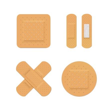 Vector Bandage Gips Aid Band Medical Adhesive Vector Illustratie