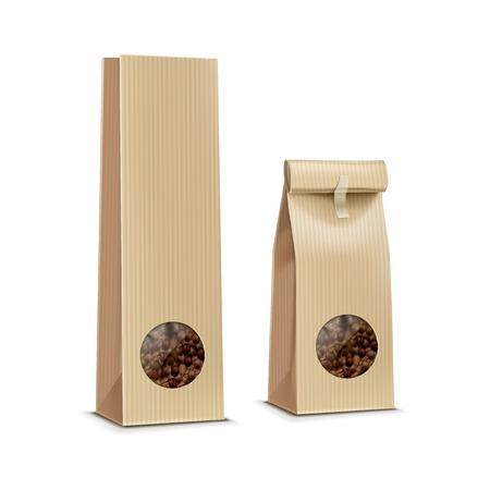 granos de cafe: Vector del caf� empaquetado Bolsa Paquete aislada