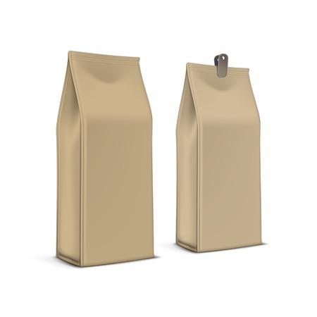 Vector Koffie Thee Verpakking Pakket zak geïsoleerd Stock Illustratie