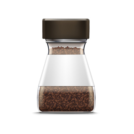 coffee jar: Vector Coffee Glass Jar Packaging Package Isolated Illustration