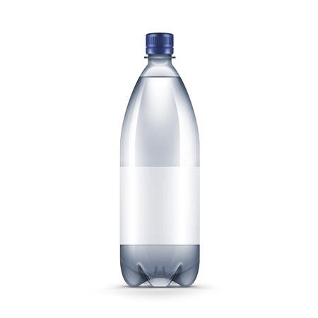 drink bottle: Vector Blank Plastic Blue Water Bottle Isolated