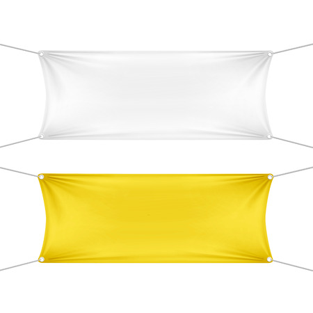 stretched: White and Yellow Blank Empty Horizontal Banners Illustration