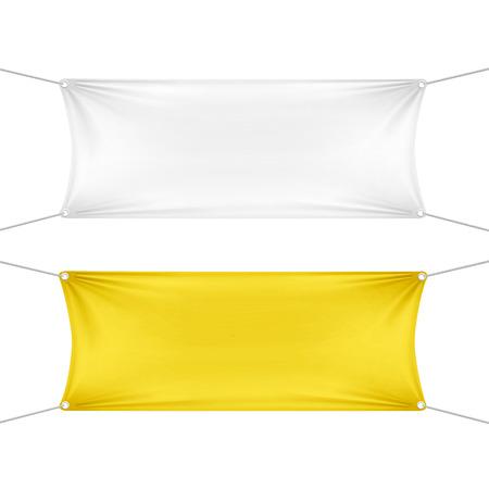 alert ribbon: White and Yellow Blank Empty Horizontal Banners Illustration