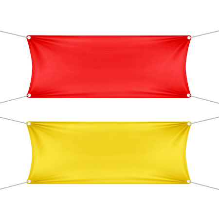 hanging banner: Red and Yellow Blank Empty Horizontal Banners Illustration