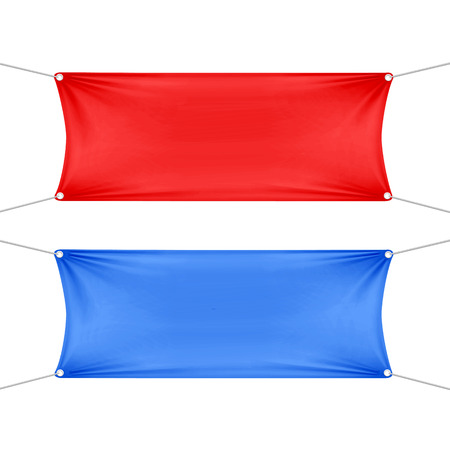 Red and Blue Blank Empty Horizontal Banners  イラスト・ベクター素材