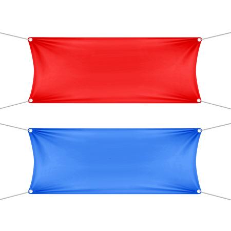 Rode en blauwe lege lege horizontale banners Stock Illustratie