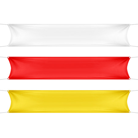 hanging banner: White, Red and Yellow Blank Empty Banners