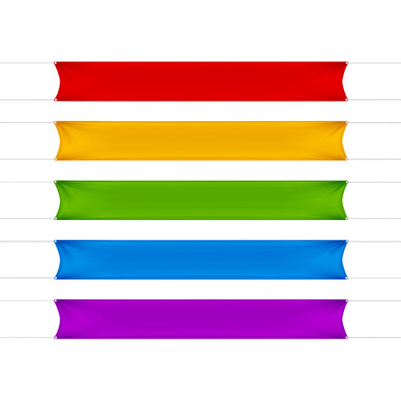 alert ribbon: Red, Yellow, Green, Blue and Purple Empty Banners Illustration