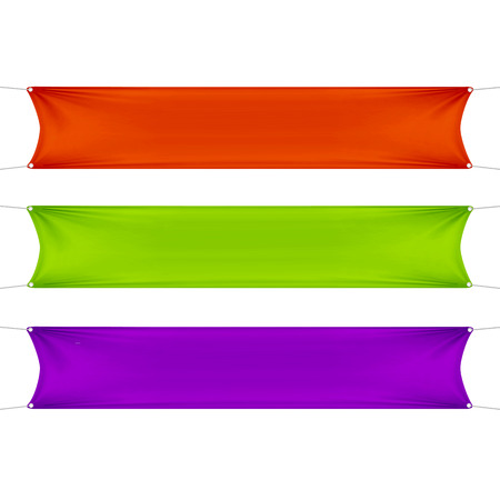Red, Green and Purple Blank Empty Banners Illustration
