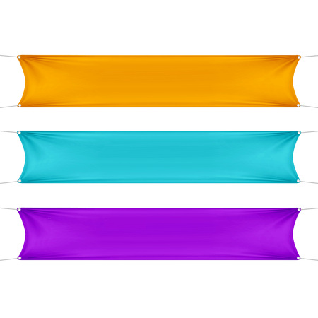 nylon: Orange, Turquoise and Purple Blank Empty Banners Illustration