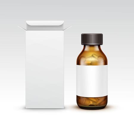 medicine bottle: Vector Blank Medicine Medical Glass Bottle
