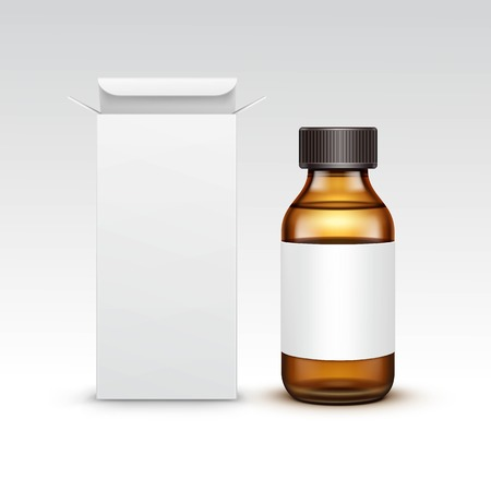 Vector Blank Medicine Medical Glass Bottle