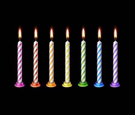 paraffin: Birthday Candles Flame Fire Light Isolated Illustration