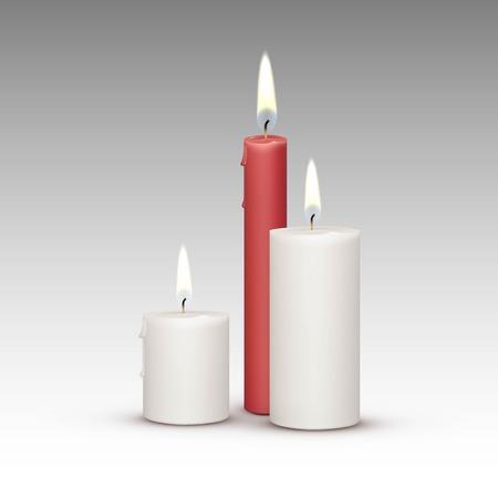Kaarsen Flame Fire licht geïsoleerd op achtergrond Stock Illustratie