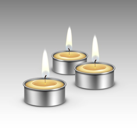 paraffin: Candles in the Metal Candlesticks