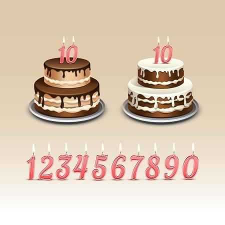 torta de cumpleaños: Torta de cumpleaños con velas números