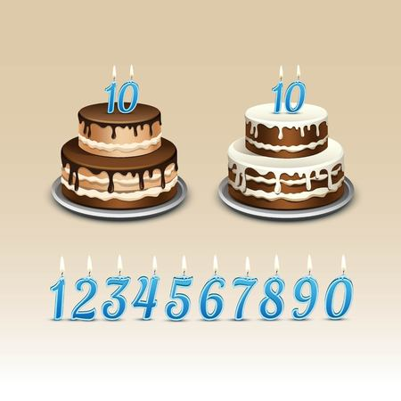 numerals: Birthday Cake with Candles Numerals