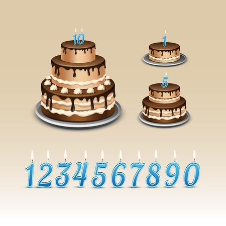 blue candles: Birthday Cake with Candles Numerals