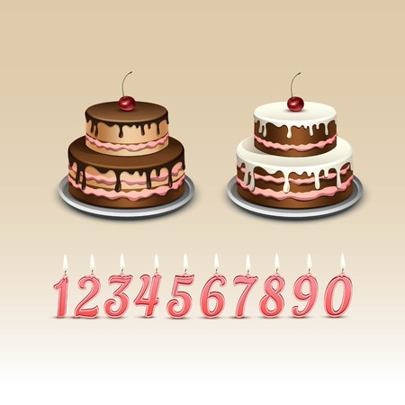 paraffin: Birthday Cake with Candles and Numerals