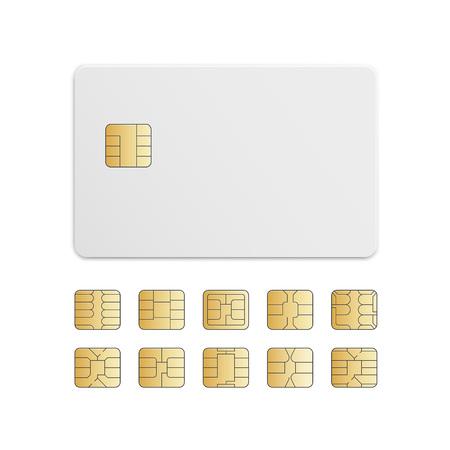mobile cellular: Vector Mobile Cellular Phone Sim Card Chip Set