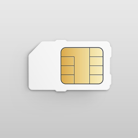 prepaid card: Vector Mobile Cellular Phone Sim Card Chip Illustration