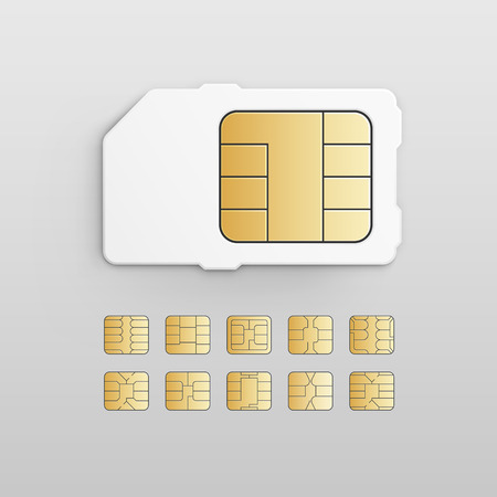 gsm phone: Vector Mobile Cellular Phone Sim Card Chip Set