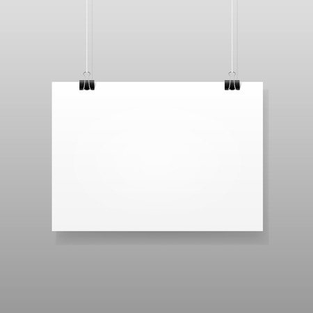 Vector White Blank Paper Wall Poster Mockup  イラスト・ベクター素材