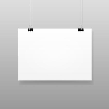 Vector White Blank Paper Wall Poster Mockup Vettoriali