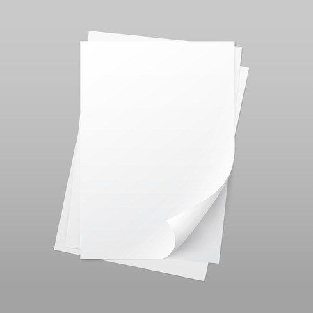 White Blank Paper Page Sheet with Corner Curl