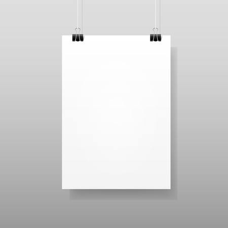 blank poster: Vector White Blank Paper Wall Poster Template