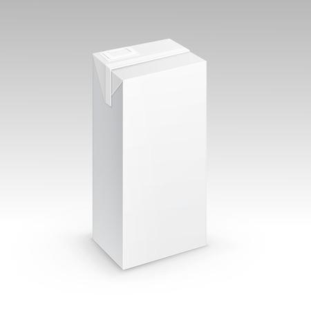 envase de leche: Leche Jugo de cartón de embalaje caja del paquete Blanca Vectores